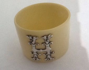 Vintage Antique Celluloid & Sterling Silver Initial 'H' Napkin Ring