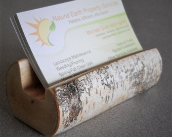 Business Card Holder Birch - Business Card Holder For Desk - Business Card Stand - Rustic Birch Business Card Holder
