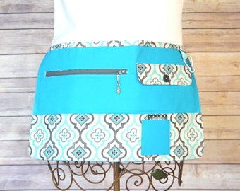Vendor Apron, Utility Apron, Teacher Apron - Bright Turquoise and Grey - Ready to Ship