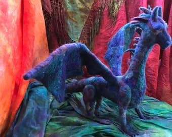 Dragon -Blue and Purple Needle Felted