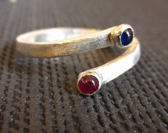 Blue sapphire and Red Ruby Open Ring in brushed sterling silver, September birthstone, alternative engagement