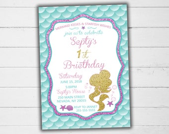 Little Mermaid Invitation, Mermaid Invitation, Mermaid Birthday Invitation, Mermaid Printable Party, Mermaid Birthday Party, Mermaid Party