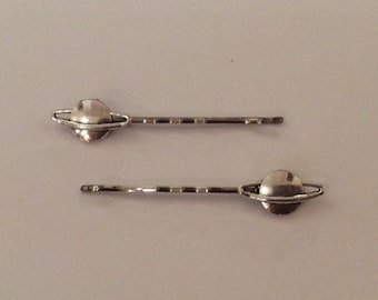 Silver Planet Saturn hair slides, grips, bobby pins, Kirby grips