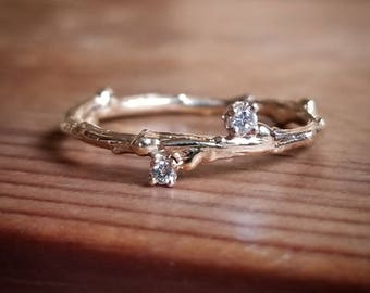 Diamond Stacking Ring, Diamond Stacking Rings, Diamond Stackable Rings, Rings for Women, Gift, Diamond Ring, Gold Twig Ring, Diamond Band