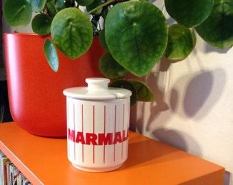 Hornsea Pottery 'Stripes'Marmalade pot and lid