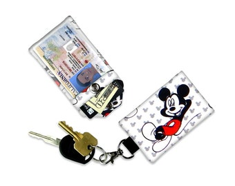 Classic Mickey Mouse Mini Wallet Card Holder Keychain Clear ID Holder Small Wallet Student ID Badge Credit Card Keychain Mickey Mouse Ears