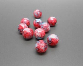 10 Red mottled 10 mm blue glass beads