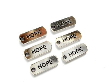 6 Antique Silver Hope Charms - 22-3-3