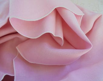 VINTAGE Beautiful Pink TABLECLOTH with White edging