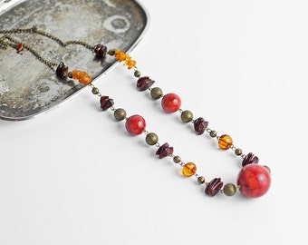 Multicolor necklace / Amber necklace / Coral necklace