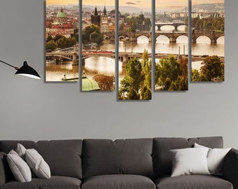 LARGE XL Charles Bridge at Dawn in Prague, Czech Republic Canvas Print Wall Art Print Home Decoration - Framed and Stretched - 1253