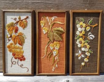 Sophisticated Stitches Set of 3 Framed Folk Art Needlepoint Needle Craft Handmade  Vintage German Mid Century Wall Hangings Autumn Colors