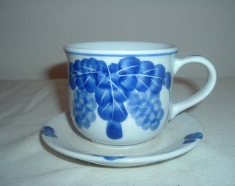 Vintage Cup and Saucer, with Grapes