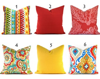 Indoor Outdoor Pillow Covers ANY SIZE Decorative Pillows Indoor Outdoor Pillows Red Pillows Orange Pillows You Choose
