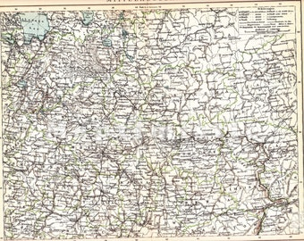 1898 Central Russia at the end of the 19th Century with the Onega and Ladoga Lakes Original Antique Geographical Map