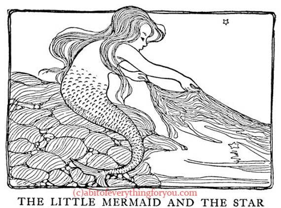 little mermaid girl vintage art illustration printable clipart png downloadable digital image graphics fairytale fantasy coloring page