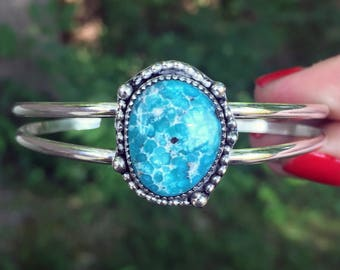 White Water Turquoise Cuff Bracelet - Turquoise Cuff - One of a Kind Cuff Bracelet - Sterling Silver - Bohemian - Artisan - Turquoise - OOAK