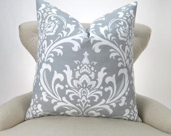 Gray Damask Pillow Cover -MANY SIZES- Ozborne Storm white custom euro cushion throw sham decorative bold modern 18x18 24x24 28x28