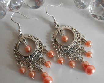 Drop earring Gypsy coral pearls