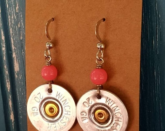 Shotgun shell earrings, pink shotgun shell earrings, bullet earrings, 20 gauge shotgun shell
