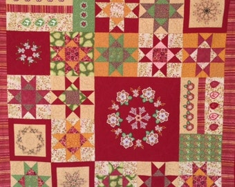 Red Floral Applique Quilt, Hand Made Appliqued Wall Hanging, Machine Embroidered Applique Quilt