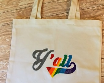 Y'all means ALL, LGBTQ reusable shopping bag, rainbow, Southern + gay, two sizes, Love wins, cotton shopping bag, Target Shopper