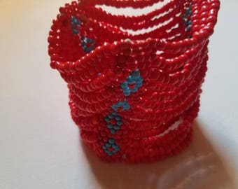 Handmade Glass Seed Bead Stretch Cuff