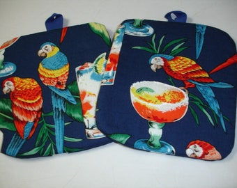 Set of 2 Stunning Tropical Parrots on navy print cotton Potholders