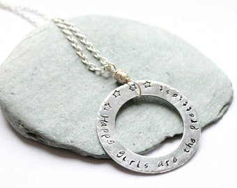 Hand stamped necklace, silver necklace, custom necklace, quote necklace, audrey hepburn quote, gift for her, washer necklace, long necklace
