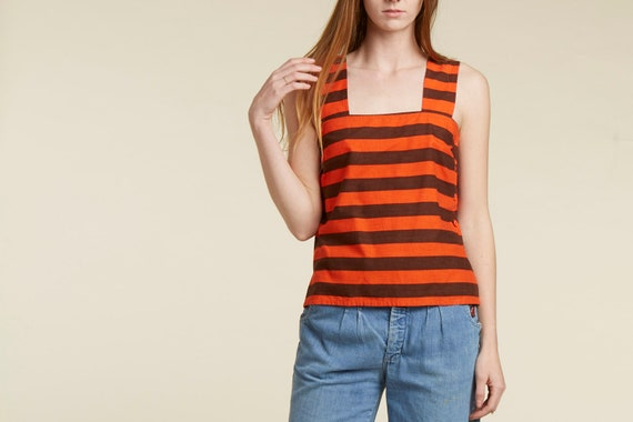 70s vtg designer / guy laroche / striped cotton button tank top / iconic