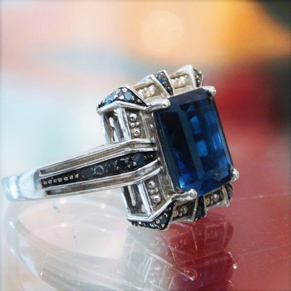 London Blue Topaz Ring / Blue Diamond /  4 CT Carat Emerald Cut / Sterling Silver / Unique Vintage Engagement