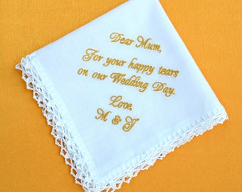 Gift for mom from daughter, Wedding gift for mother of the bride gift wedding handkerchief for mom, cotton personalized for your happy tears