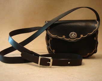 Lyn Tooled Black Leather Crossbody Bag - Shoulder Purse - Handbag - Fleur de Lis
