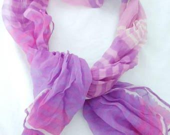Vintage Vera Neumann Scarf Verasheer Striped Purple Pink & White Rectangular Handrolled Made in Japan