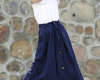 Maxi wrap skirt, linen wrap skirt, linen skirt, navy blue skirt, linen skirt pockets, linen women skirt, long linen skirt, maxi skirt C333