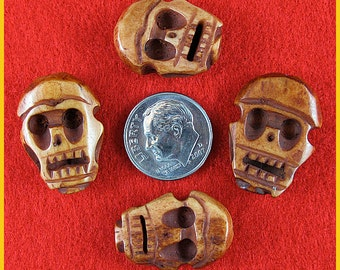 Rosewood Bone Skull Beads - Lot of 5