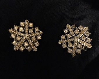 Pair of Vintage rhinestone brooches