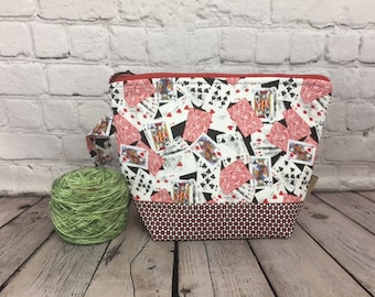 Playing Cards, Poker Print w/ Full length pocket, Knitting project bag, Crochet project bag,  Zipper Project Bag, Yarn bowl, Yarn tote