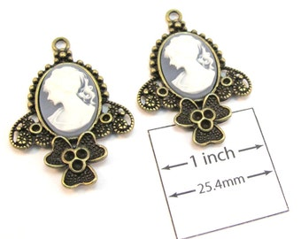Brass Metal Frame/Setting, Ivory on Blue  Oval Cameo 40mm x 30mm Charms/Pendants, Set of 2, 1087-03