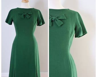Vintage Dress / Vintage 60s Dress / 60s Day Dress / Sheath Dress / Green Dress / Wool Dress / Shannon Rodgers Dress / Size Small