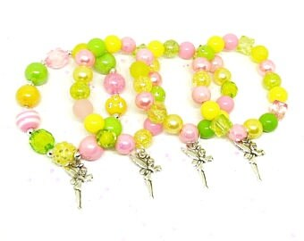 Tinkerbell fairy bracelets party favors in organza bags with special birthday girl bracelet!
