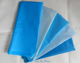 tissue paper sheets, shades of blue