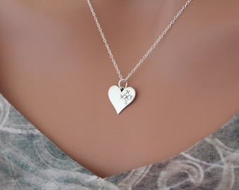 Sterling Silver Heart Compass Pendant Necklace, Compass Heart Charm Necklace, Compass Heart Necklace, Heart Compass Necklace