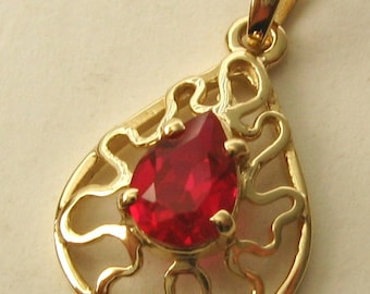 Genuine SOLID 9K 9ct YELLOW GOLD Pear Shape Filigree July Birthstone Ruby Pendant