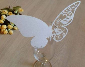 50x Ivory Butterfly Name Place Card | Wine Glass Flute Wedding & Party Reception Ceremony Banquet Function Table Centerpiece Decoration