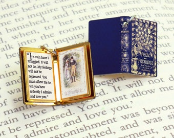 Pride and Prejudice by Jane Austen - Miniature Book Shaped Charm Quote Pendant - for charm bracelet or necklace. Custom available!