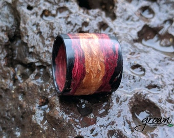 Tri-color Ombre Wood Ring | Boho | Statement | Ebony | women's ring | wooden ring | Gift for her | Customizable | Natural | Handmade Jewelry