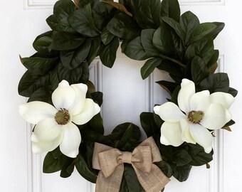 Magnolia Wreath, Farmhouse Wreath, Magnolia Door Wreath, Rustic Wreath, Front Door Wreath, Outdoor Wreath, Housewarming Wreath