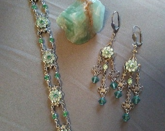 Antique like Earrings & Bracelet Set