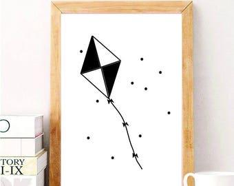 Kite, Black and white, Printable, Digital Artwork, Wall art, Home decor, Kids, Inspiring ideas, Nursery